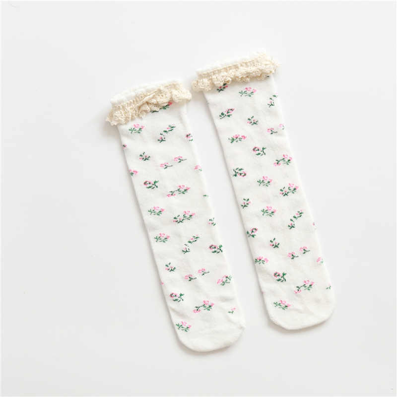 Mädchen Socken Spitze Rüschen Rüschen Socken Baby Baumwolle Harajuku Niedliche Vintage Retro Floral Baby Boot Socken für Kinder Knie Hohe prinzessin