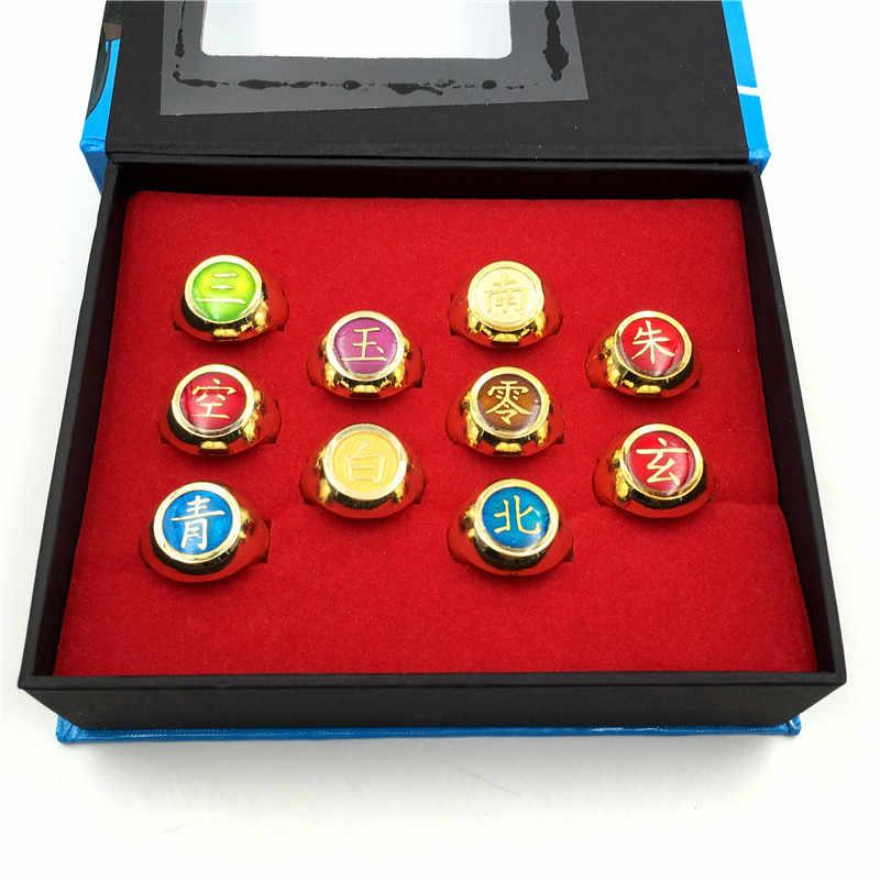 10pcs Anime Naruto0 Cosplay Akatsuki Member/'s Ring Set Collections With Box Gift