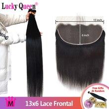 Бразильские прямые человеческие волосы Lucky Queen, пучки с фронтальной сеткой 13x6, фронтальные волосы с 30 дюймовыми пучками, человеческие волосы Remy для наращивания