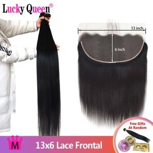 Image 1 - Mèches brésiliennes Remy lisses Lucky Queen, avec Lace Frontal 13x6, 30 pouces, extensions de cheveux naturels