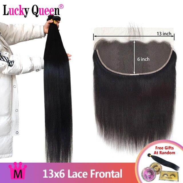 Mèches brésiliennes Remy lisses Lucky Queen, avec Lace Frontal 13x6, 30 pouces, extensions de cheveux naturels
