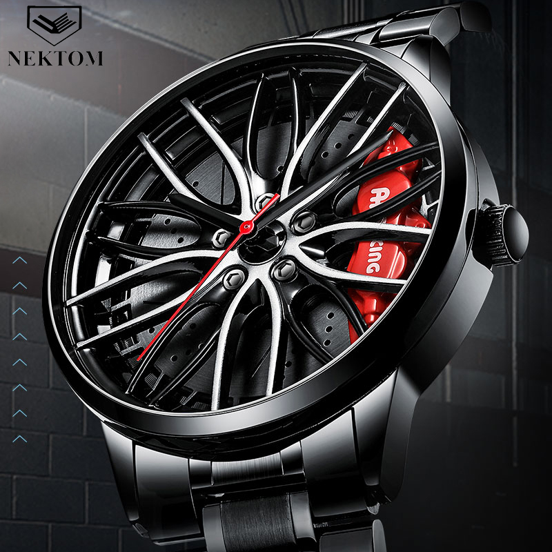 NEKTOM Sports Car Wheel Rim Hub Watches Men Custom Design Sport Car Rim Hub Men Watch Stainless Steel Waterproof Creative Watch