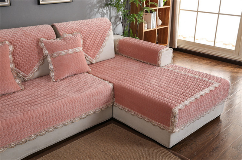Thick Slip Resistant Couch Cover for Corner Sofa Made with Plush Fabric Including Lace for Living Room Decor 62