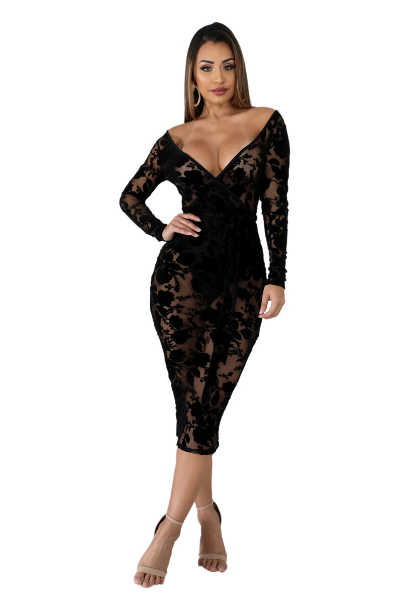 Adogirl Rose Flocking Lace Sheer Mesh Sexy Club Dress Wrap V Neck Long Sleeve Bodycon Midi Party Dresses Women Autumn Clothing