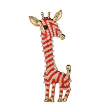 Gariton Cute Enamel Red Giraffe Fashion Jewelry Statement  women Broochs accessories Factory Wholesale