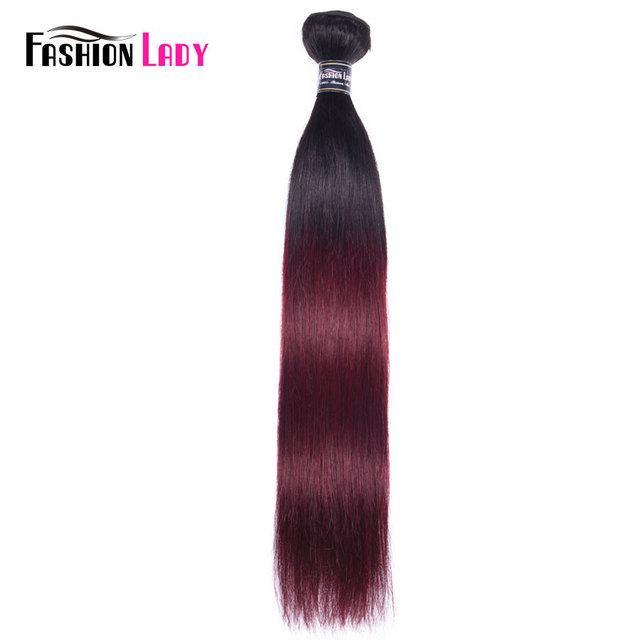 FASHION LADY Pre Colored Brazilian Straight Hair Extension Ombre Human Hair Weave 1B/99J 1/3/4 Bundle Per Pack Non Remy