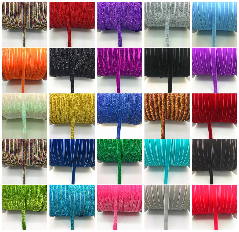 "New DIY 5 yards 3//8 /""10mm Velvet Ribbon Headband Clips Bow Decoration NO31"