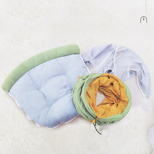 Cozy Foldable Kitten Play Tunnel & Lounger  3
