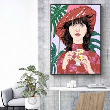 Fashion Girl Monstera Leaf Nordic Poster Wall Art Print Canvas Painting Vintage Posters And Prints Pictures For Living Room