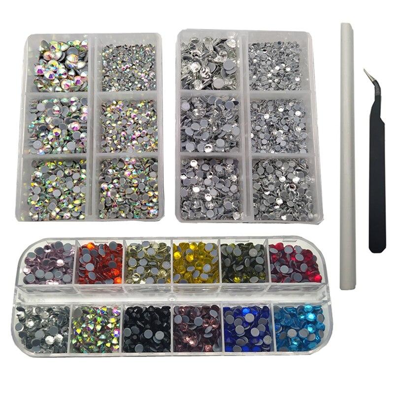 6000 pcs hotfix strass liso volta pedras preciosas conjunto com ab limpar 6 tamanhos e 12