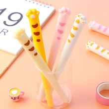 1 Pcs 0.5mm Cute Cat Claw Style Soft Silicone Gel Pen Signature  Erasable School Office Supply Promotional Gift