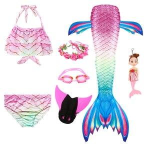 Image 4 - Queue de sirène pour filles, Costume de sirène nageuse avec aileron, guirlande de lunettes et poupée sirène pour enfants, nouvelle collection, à la mode