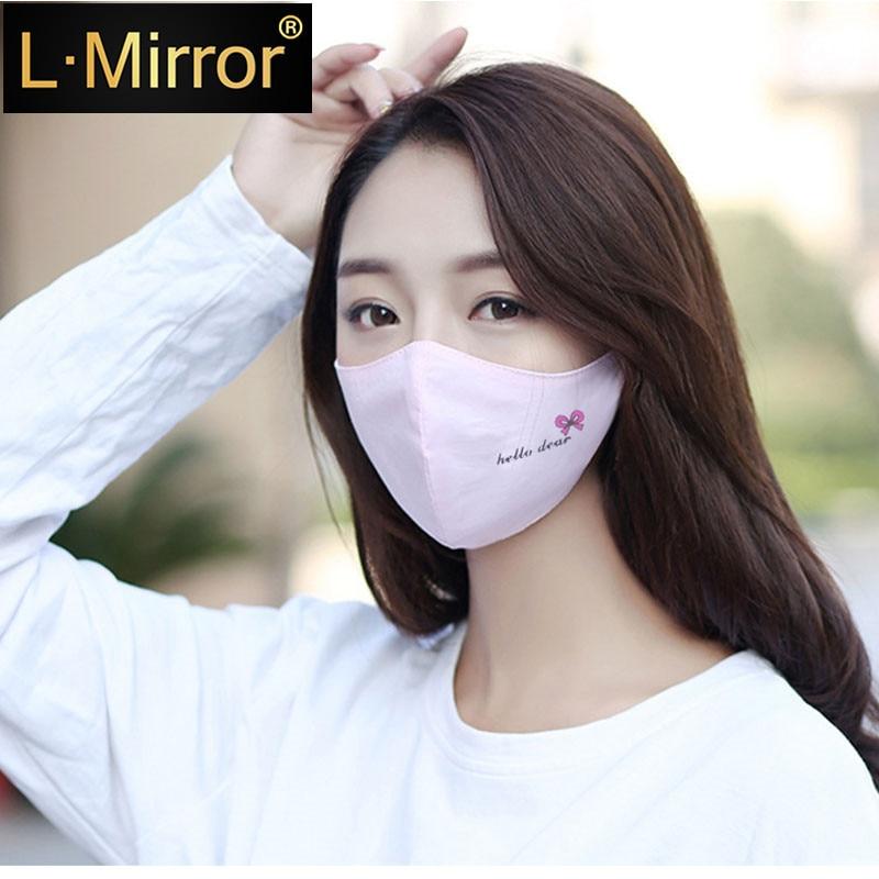 L.Mirror 1PCS Cotton Dustproof Girls Mouth Face Mask Anime Cartoon Women Muffle Face Mouth Masks Reusable