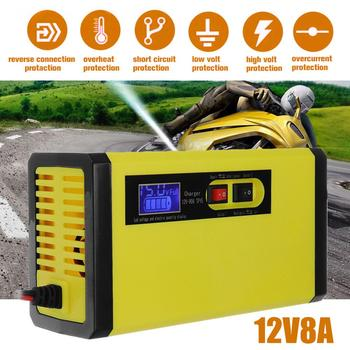 12V 8A Full Automatic Battery-chargers Digital LCD Display Car Battery Chargers Power Puls Repair Chargers Wet Dry Lead Acid