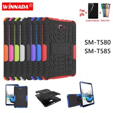 купить For Samsung GALAXY Tab A A6 10.1 2016 case T580 T585 T580N T585N 10.1inch Tablet Silicone TPU+PC Shockproof Stand Cover+pen+Film по цене 561.43 рублей