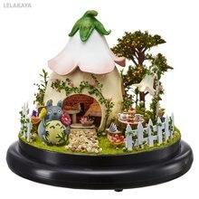 Diy totoro pequeno handmake mini casa de boneca de madeira em miniatura montagem dollhouse bola de vidro decoração kit jardim verde