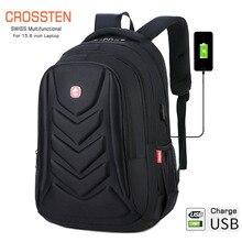 Рюкзак через плечо для ноутбука, вместительная школьная сумка, с USB портом для зарядки, 15 дюймов, водонепроницаемая деловая сумка для компьютера из ЭВА