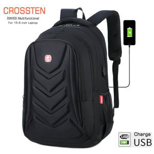 "Crossten Swiss Multifunctional EVA Protect shell 15"" Laptop Backpack USB Charge Port Mochila Travel bag Waterproof Schoolbag(China)"