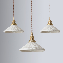 IWHD White Ceramic Brass Pendant Lights Fixtures Restaurant Bedroom Bedside Nordic Japanese Style Hanging Lamp LED Hanglampen