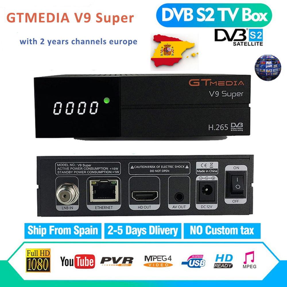 2 ans Europe chaînes GT Media V9 Super Satellite récepteur DVB-S2 Full HD Satellite récepteur GTMedia décodeur Super TV Box