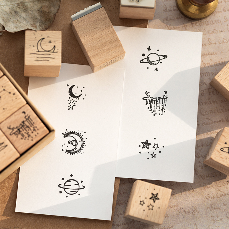 16 Pcs/Lot Vintage Planet Moon Cloud Decoration Stamp Wooden Rubber Stamps for Scrapbooking Stationery DIY Craft Standard Stamp 3