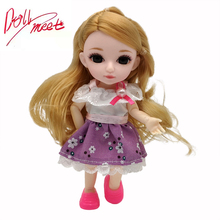 Dolls Dress-Up BJD Princess Fashion Makeup 16cm Girls for Kawaii with Comb-Set 1/12 Movable