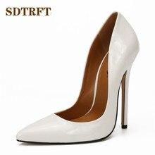SDTRFT sığ ağzı Stilettos kırmızı Patent deri ayakkabı kadın sivri burun 15cm ince yüksek topuklu düğün pompaları Crossdresser Mujer