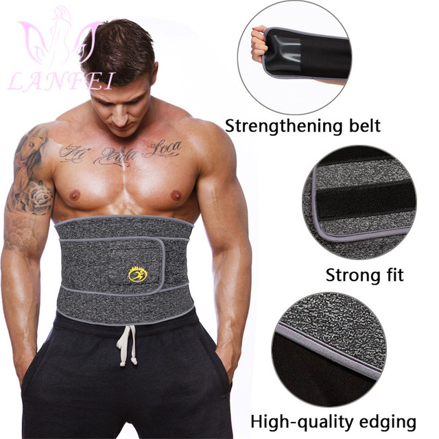 LANFEI Hot Noeprene Slimming Sweat Belt Men Belly Waist Trainer Weight Loss Corset Sauna Body Shaper Sport Workout Strap Fajas 5