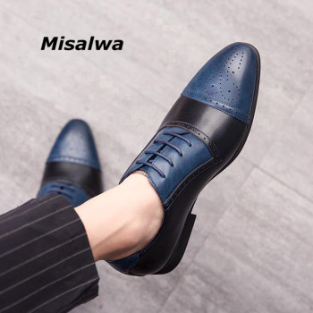 Misalwa Vintage Mens Brogues Shoes Two Color Combinations Wingtip Business Formal Footwear Novelty Gents Suit Lacing Shoes