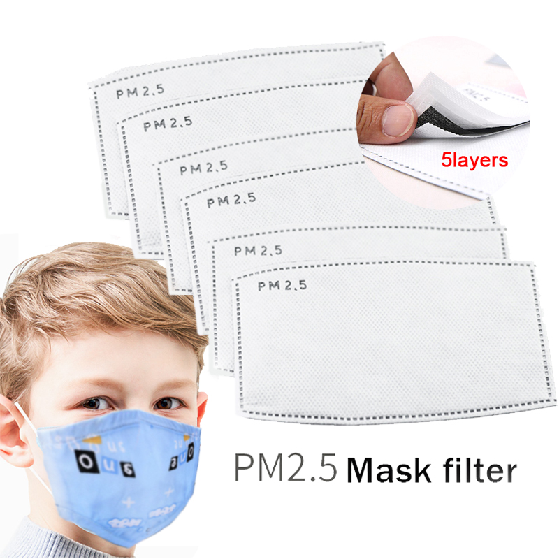 PM2.5 Child Kids Mask Filter Paper Activated Carbon Respirator Anti Haze Mouth Mask 5 Layer Replaceable Filter-slice Health Care