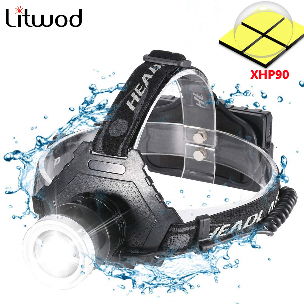 Z25 Super Bright XHP90 USB Rechargeable Led Headlamp XHP50 Most Powerful Headlight Fishing Camping ZOOM Torch By 3*18650 Battery