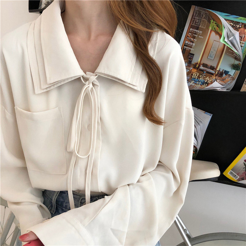Women Autumn Lace-up Shirt Women Blouses Loose Shirts Casual Long-sleeved Blouse