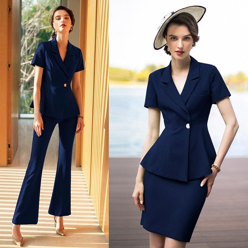 Women S Office Suits Set Professional Female Business Lady Suit Plus Size Dark Navy Blazer Pant Designer Tailor 2019 Free Ship