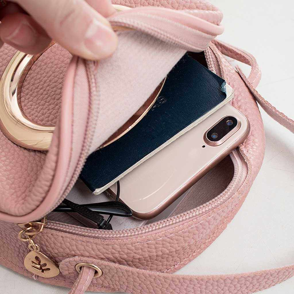 รอบโลหะตกแต่งกระเป๋าไหล่กระเป๋าถือขนาดเล็ก Letter กระเป๋าโทรศัพท์มือถือกระเป๋าถือกระเป๋าถือผู้หญิงผู้หญิงกระเป๋า Bolsa feminina