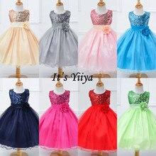 It's Yiya/платье с цветочным узором для девочек; элегантные платья для первого причастия; свадебное платье с круглым вырезом и блестками; рождественское Пышное Бальное Платье; L067