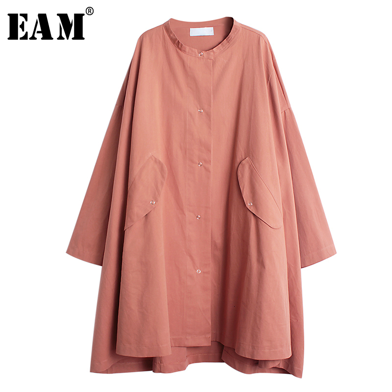 [EAM] Loose Fit Big Size Oversize Solid Jacket New Stand Collar Long Sleeve Women Coat Fashion Tide Spring Autumn 2020 1B355