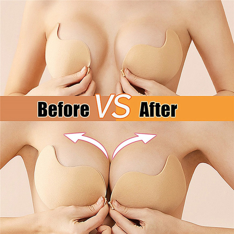 Silicone Sticky Invisible Backless Bra Strapless Push Up Bralette Seamless Front Closure Adhesive Bars Nipple Cover Underwear @