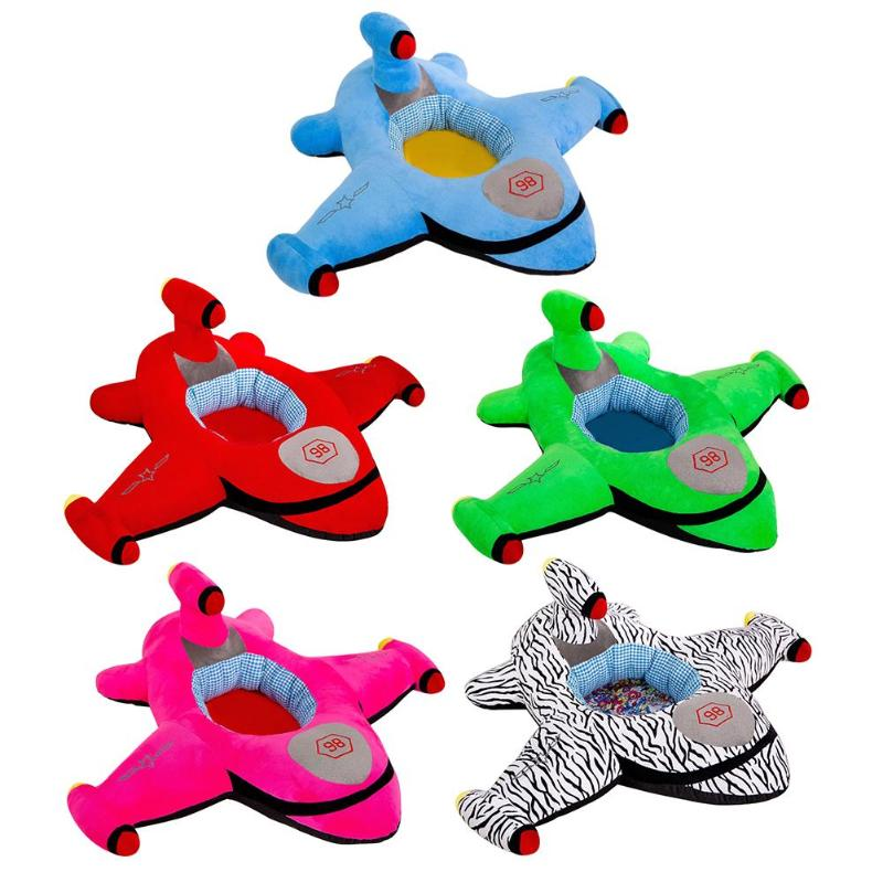 Cartoon Airplane Shape Seat Chair Cover Delicate Feel No Hair Loss No Color Loss For Infants Learning To Sit Plush Skin