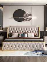 Luz italiano cama de luxo moderno simples pequena família nordic couro principal quarto camada psorate cama de casal