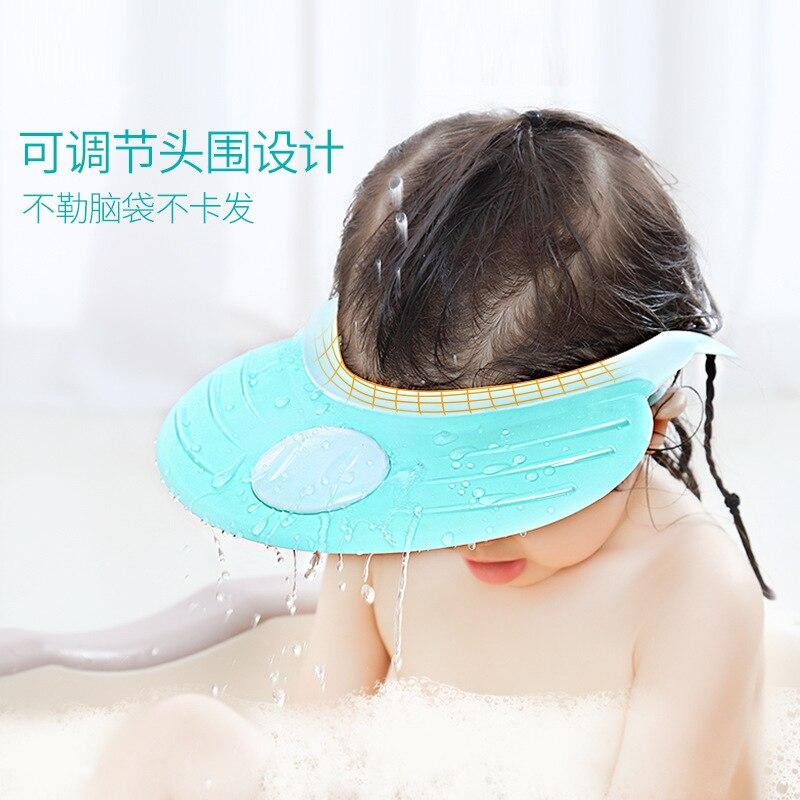 Adjustable Kids Shower Cap Waterproof Earmuff Infant Bath Shower Cap Children Bath Cap Silica Gel Baby Waterproof Cap