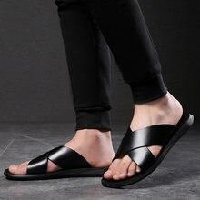 Шлепанцы chinelo slide мужские из натуральной кожи сандалии