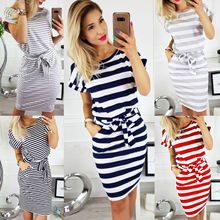 2018 New Arrivals Blue Short Sleeve Women Casual Striped Shi
