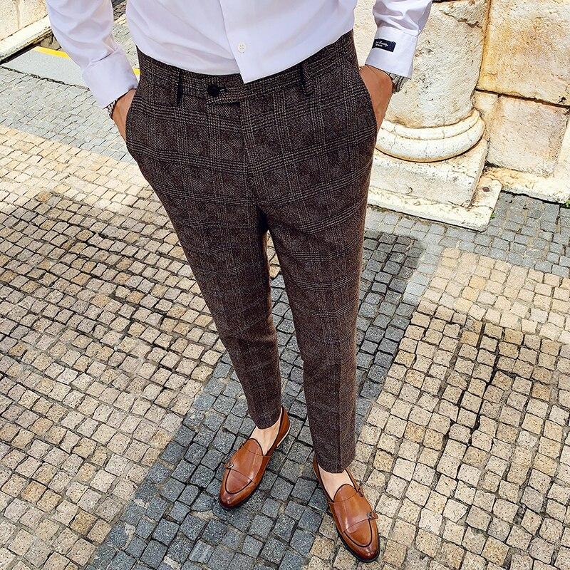 2019 Autumn Winter Pantalon Clasico Hombre Plaid Suit Trousers Pants Men Wedding Pants Men Office Pants Business Pants Slim Fit 1