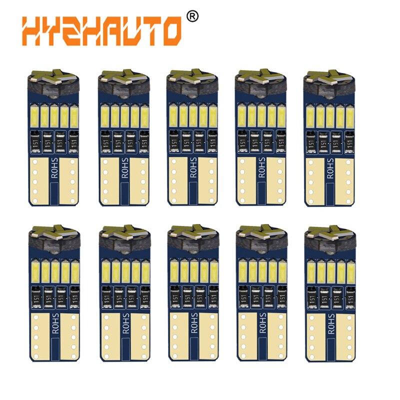 HYZHAUTO 10 шт. T10 W5W светодиодный лампы 194 168 4014-15SMD Canbus автомобиля светодиодный светодиодные фонари чтения/купол/внутренний и внешний створчатый ...
