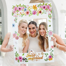 White Floral Wedding Photo Frame Prop Just Married/Wedding Day Booth Props For DIY Hen Bachelor Party Decoration