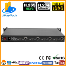 HEVC 1U Rack 4 Channels H.265 H.264 HD HDMI to SRT IP Video Streaming IPTV Encoder with HTTP RTSP RTMP UDP RTMP HLS Multicast