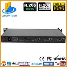HEVC 1U Rack 4ช่องH.265 H.264 HDMI HD HD SRT IPสตรีมมิ่งวิดีโอIPTV EncoderกับHTTP RTSP RTMP UDP RTMP HLS Multicast