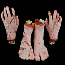 4 Pcs Halloween Horror Severed Hands Feet Set Scary Bloody Broken Body Parts Decoration Props