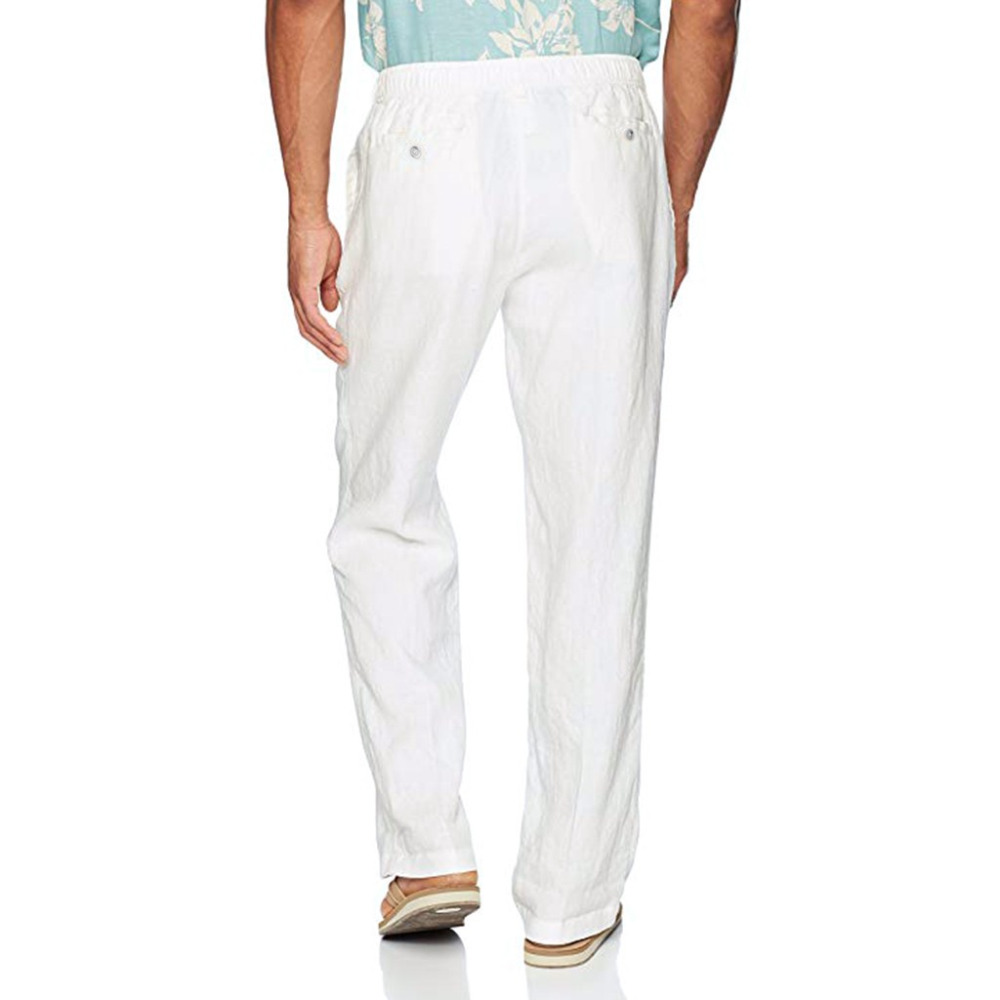 He1bd8342adfb4b0faaddfca5e67cdc013 Feitong Fashion Cotton Linen Pants Men Casual Work Solid White Elastic Waist Streetwear Long Pants Trousers
