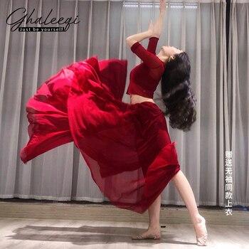 Women belly dance dress suit performance set net vertical collar top big skirt training clothes JX102